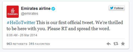 emirates airline first tweet
