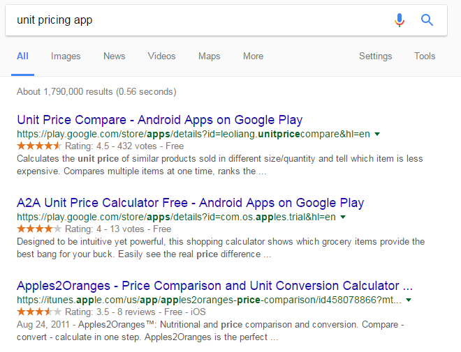 unit pricing apps in google