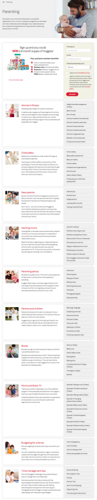 huggies parenting page content