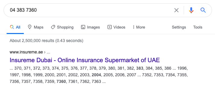 insureme.ae serp result in google