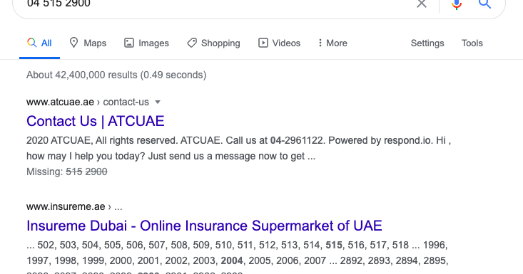Why does this insurance page come up for phone number searches?