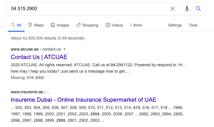 another example of insureme.ae serp result in google