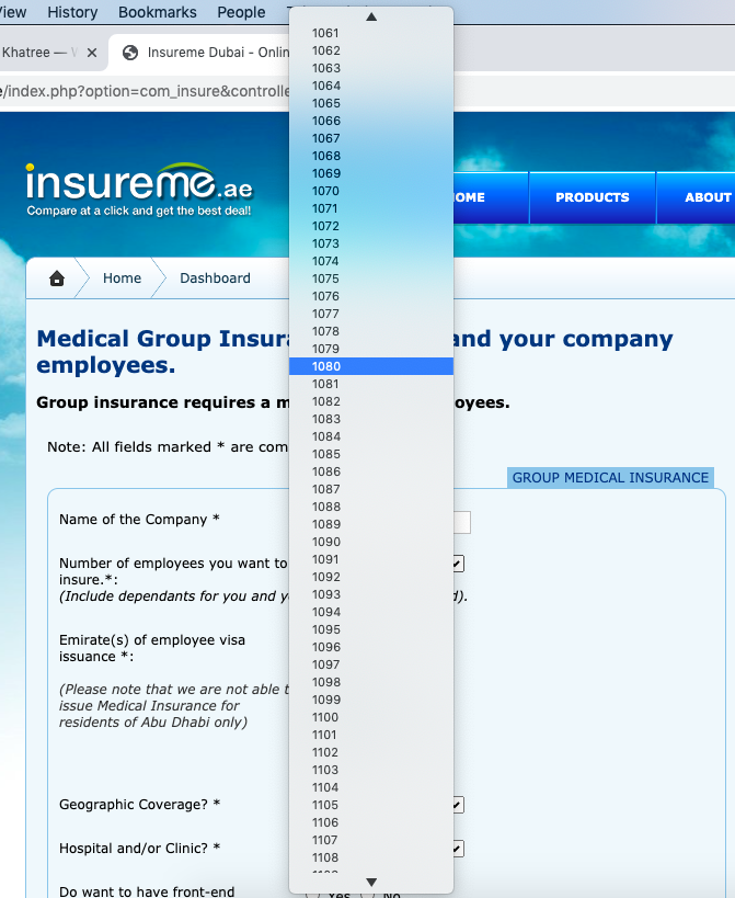 insureme.ae number of employees dropdown and keeps going even more