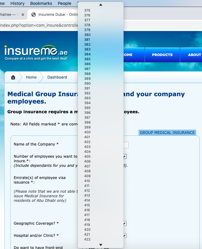 insureme.ae number of employees dropdown keeps going