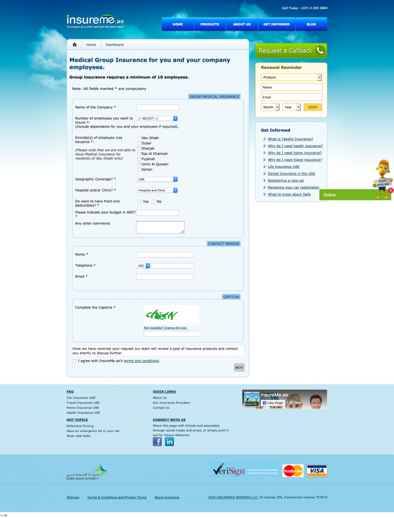 insureme.ae landing page with form