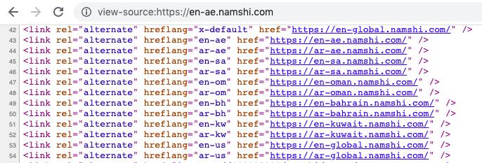 hreflang code from namshi